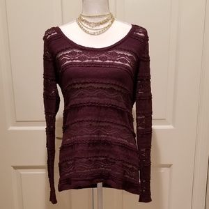 Lace Striped Scoop Neck Blouse from Express